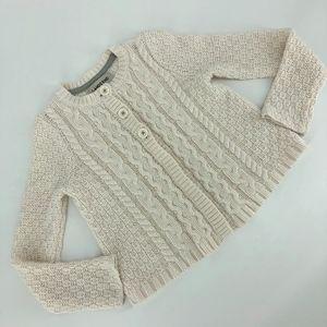 Lands' End cable knit button down cardigan